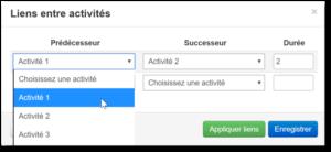 6.2.8 Affichage Comment modifier les liens entre activites